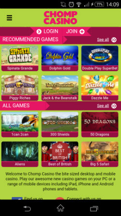 Play mobile slots at Chomp Mobile Casino