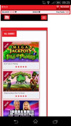 Progressive jackpots at Daily Star Games Mobile Casino