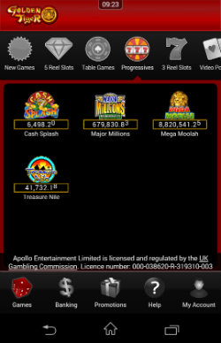 Play progressive jackpots at at Golden Tiger Casino Mobile