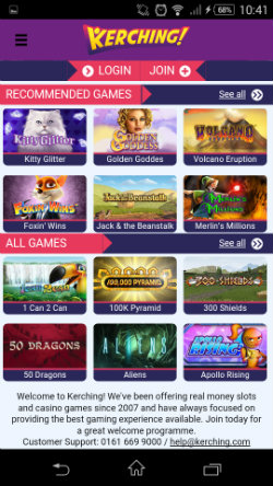 Play mobile slots at Kerching Mobile Casino
