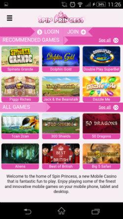 Play mobile slots at Spin Princess Mobile Casino