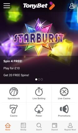 TonyBet Casino Android App   Get up to £250 free casino bonus