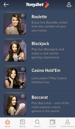TonyBet Casino App | Play live casino games including Roulette and Blackjack