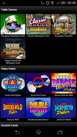 Play table games & video poker at Video Slots Mobile Casino
