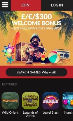 GUTS Mobile Casino | Receive up to £300 bonus plus 100 free spins on Starburst