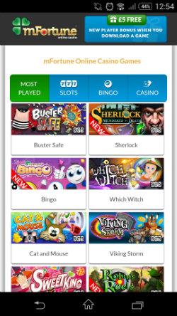 Get casino bonuses & casino rewards at mFortune Mobile Casino