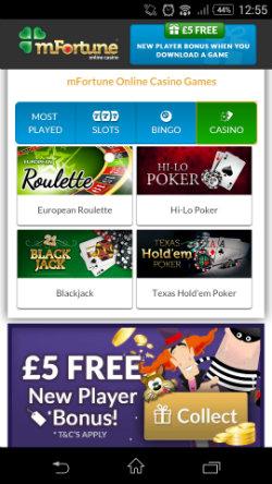 Play online Blackjack & online Roulette at mFortune Mobile Casino