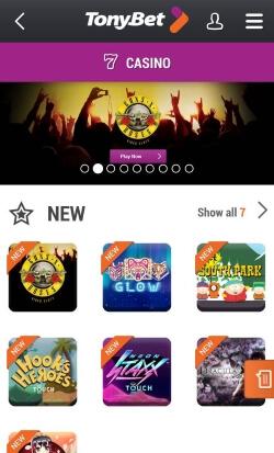 TonyBet Mobile Casino | Get up to £250 in free casino bonus