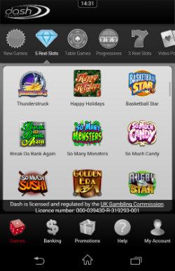 Play mobile slots at Dash Mobile Casino