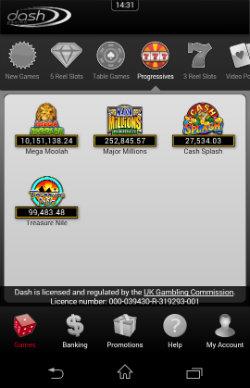 Play progressive jackpots at Dash Mobile Casino