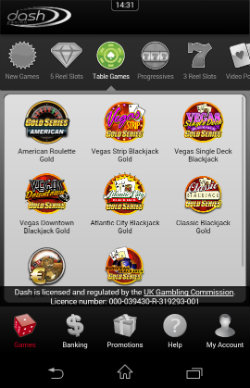 Play Blackjack and Roulette at Dash Mobile Casino