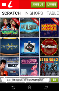 Play instant win scratch cards at Ladbrokes Mobile Slots