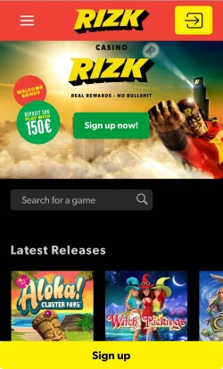 Rizk Mobile Casino | Claim up to £100 in free bonus