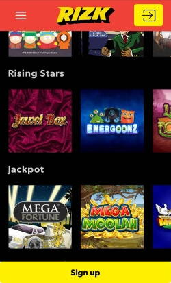 Rizk Mobile Casino | Play progressive jackpots like Mega Moolah