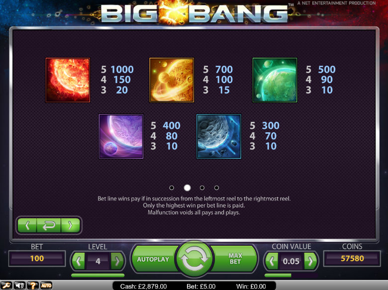 Big Bang slot - paytable