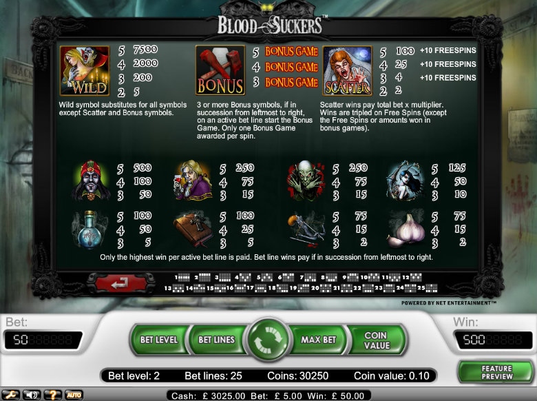 Blood Suckers slot - paytable
