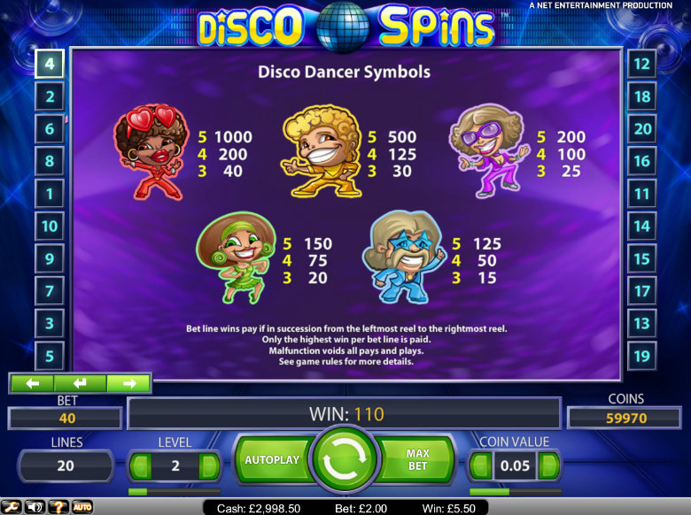 Disco Spins slot - paytable