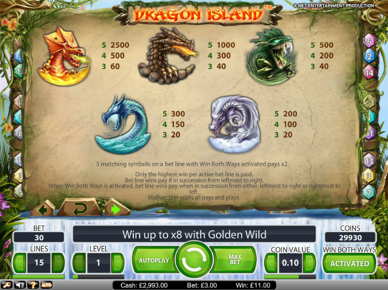 Dragon Island - paytable