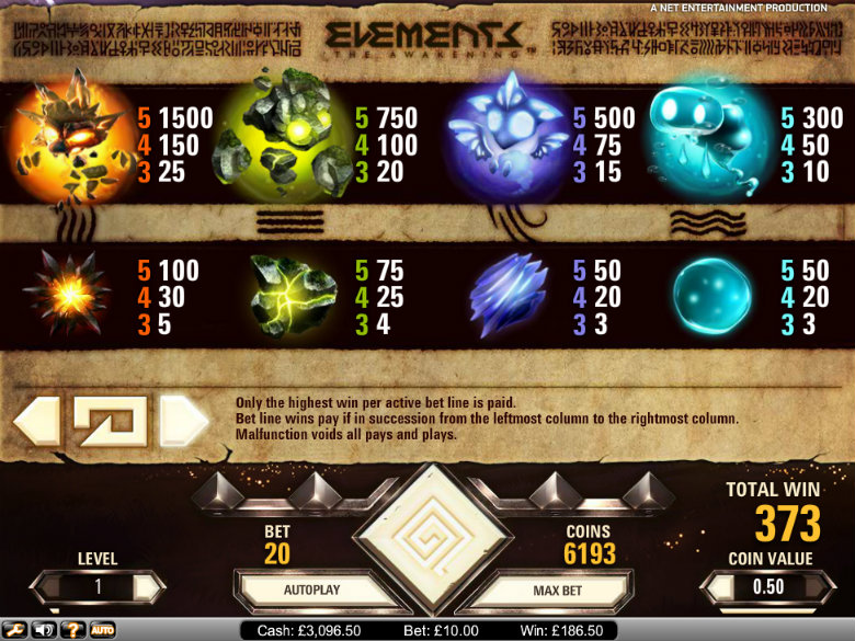 Elements: The Awakening - paytable