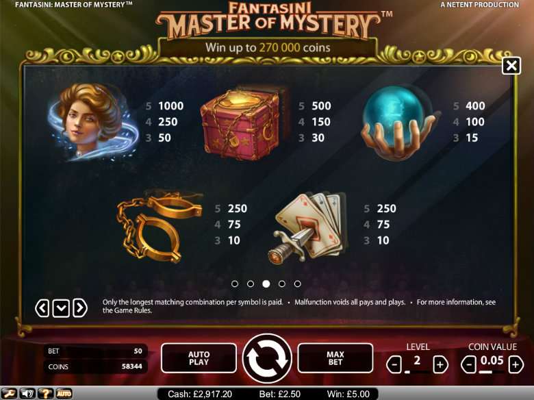 Fantasini: Master of Mystery - paytable