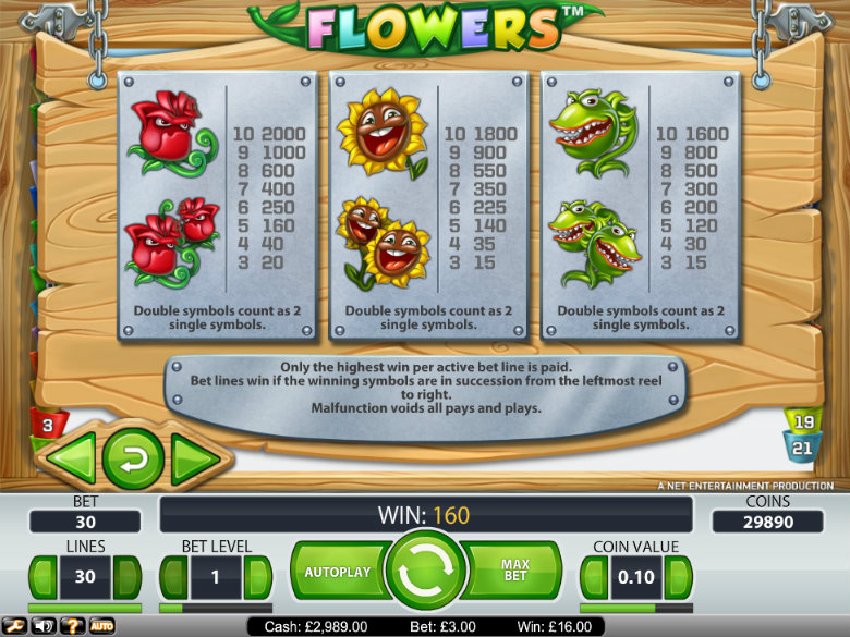 Flowers - paytable