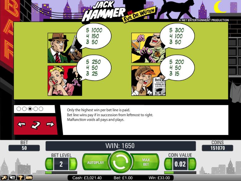Jack Hammer- Paytable