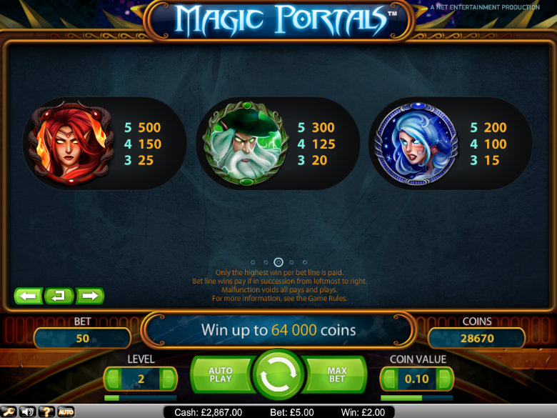 Magic Portals - paytable