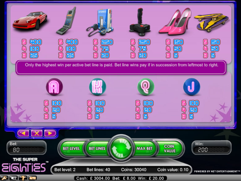 The Super Eighties slot - paytable