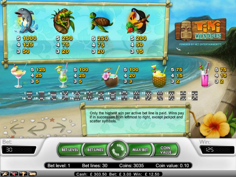 Tiki Wonders - paytable