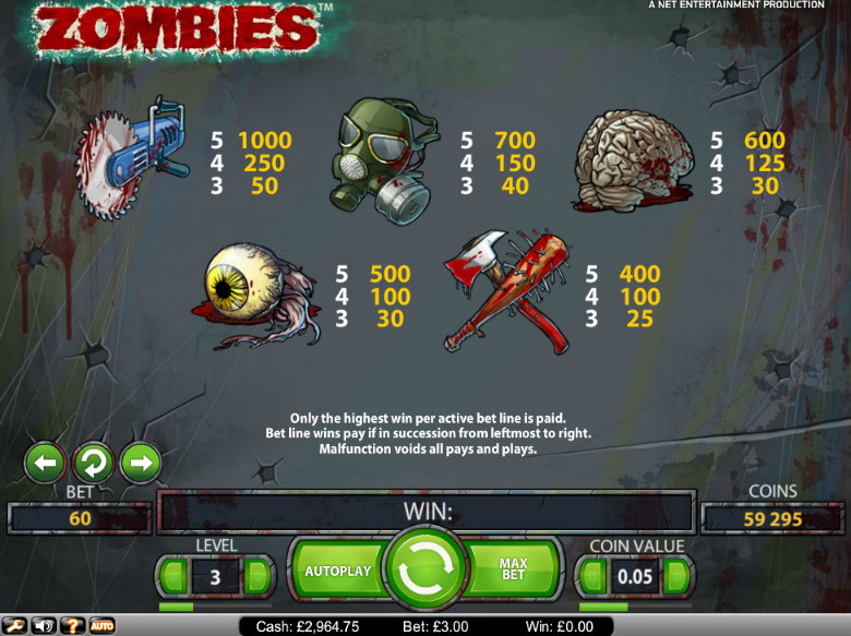 Zombies video slot - paytable