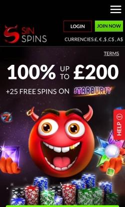 Sin Spins Mobile Casino   Get up to £200 free casino bonus