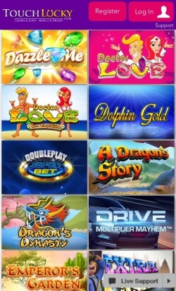 Touch Lucky Mobile Casino | Claim up to £500 in free casino cash