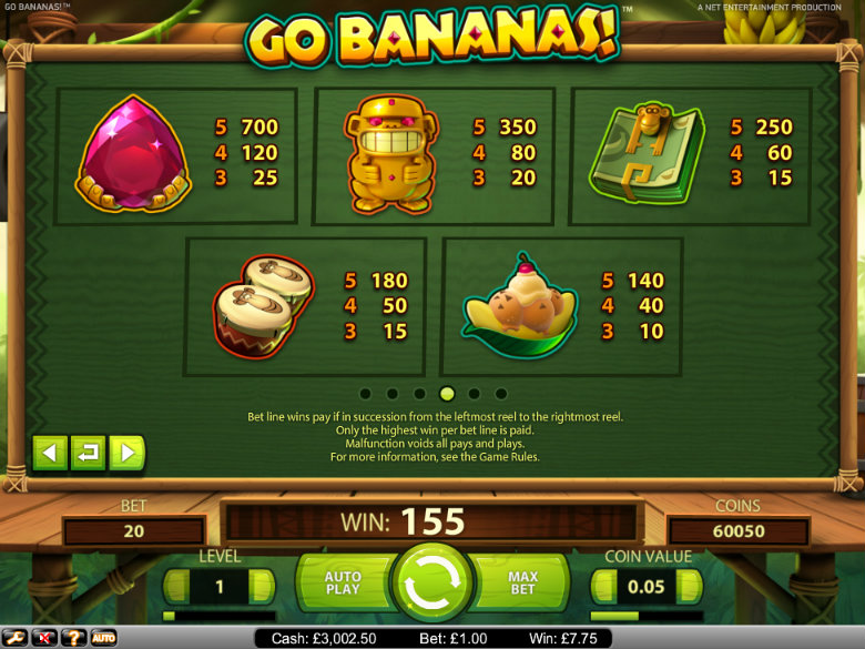 Go Bananas - Paytable