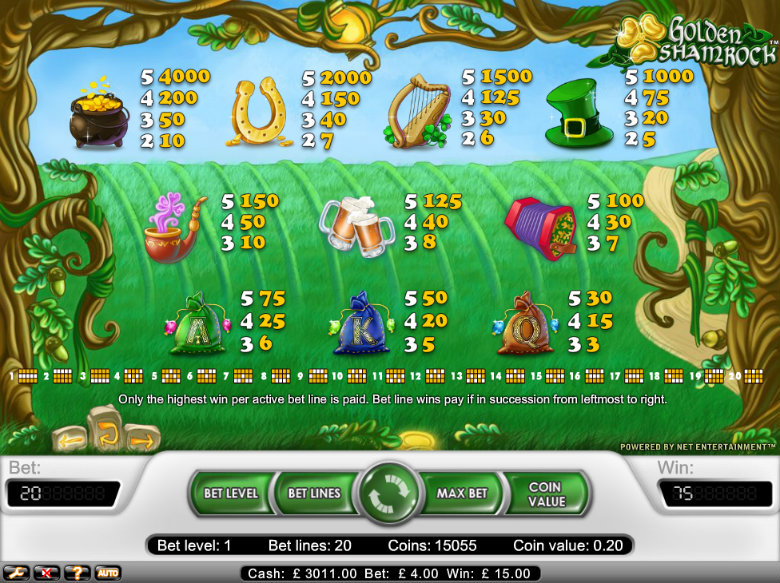 Golden Shamrock - Paytable