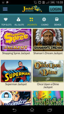 Win jackpots at Jester Jackpots Mobile Casino
