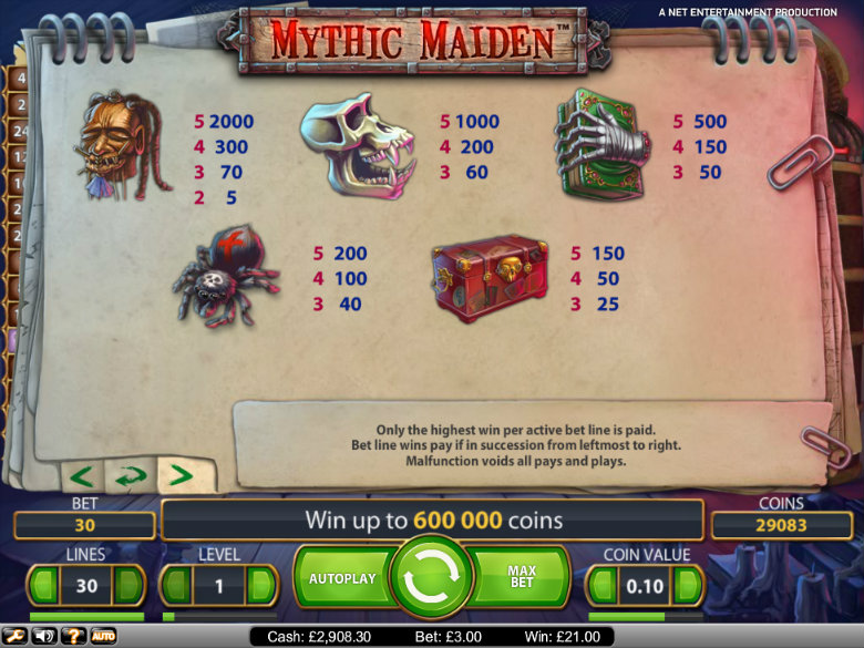 Mythic Maiden - Paytable