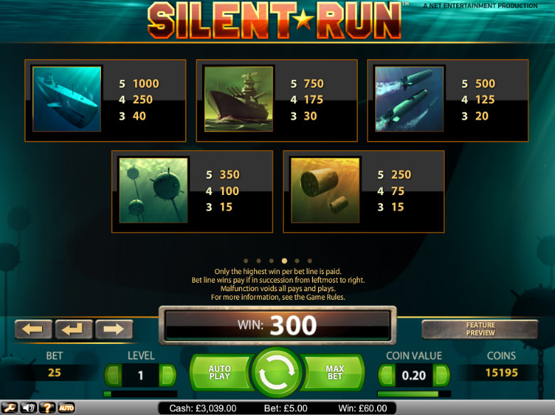 Silent Run - Paytable