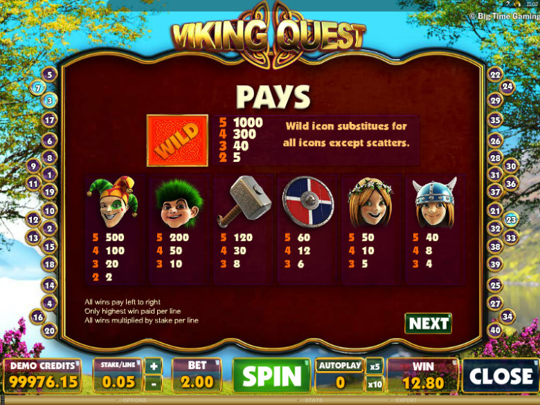 Viking Quest - Paytable