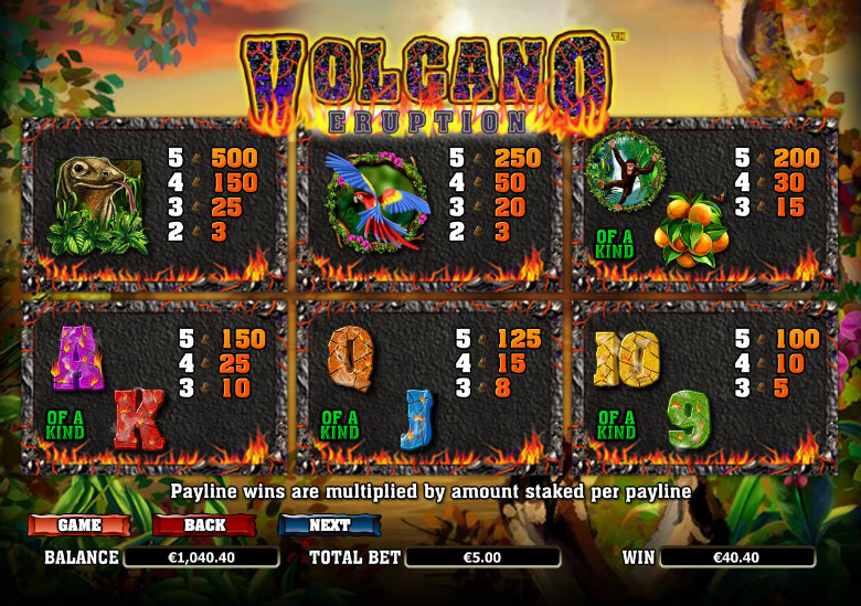 Volcano Eruption - Paytable
