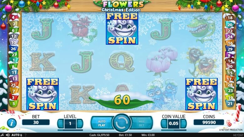 Flowers Christmas Edition Video Slot by NetEnt