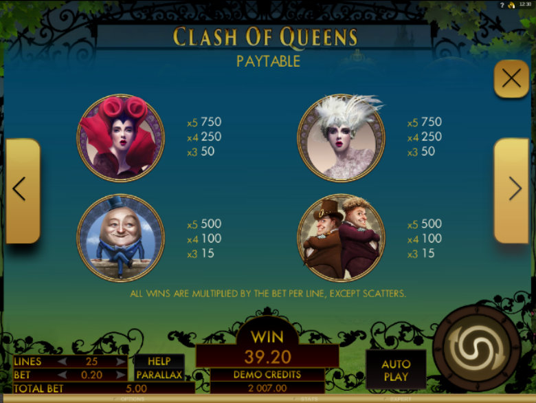 Clash Of Queens - Paytable