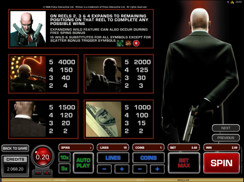 Hitman - Paytable