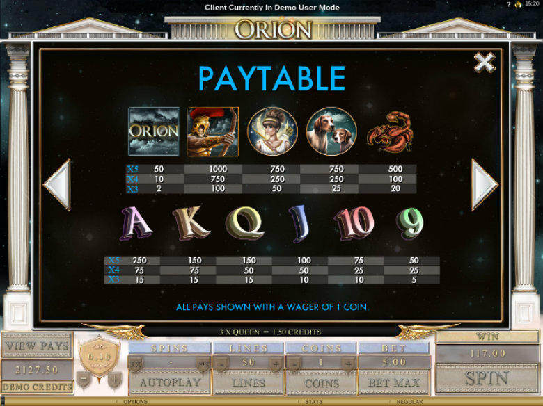 Orion - Paytable