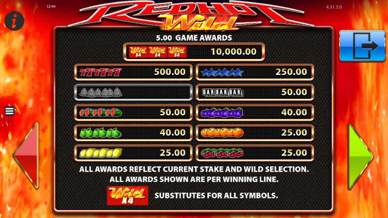 Red Hot Wild - Paytable