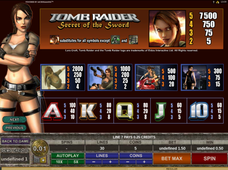 Tomb Raider 2: Secret Of The Sword - Paytable