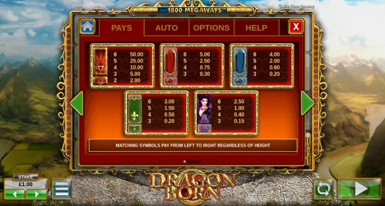 Dragon Born - Paytable
