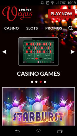 Get casino rewards at Fruity Vegas Mobile Casino
