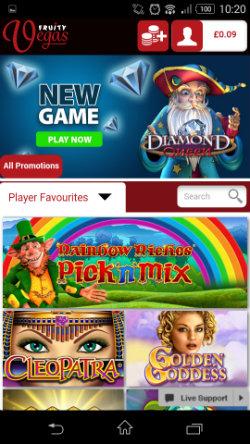 Get casino bonuses at Fruity Vegas Mobile Casino