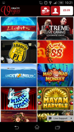 Play mobile slots & live casino games at Fruity Vegas Mobile Casino