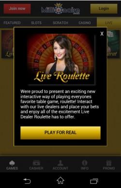 Millionaire Mobile Casino - Live Casino